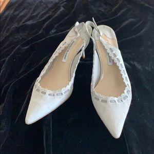Grey Suede Manila Blahnik Heels